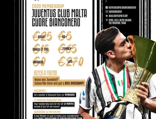Estiża l-offerta relatata mas-sħubija tal-Juventus Club Malta Cuore Bianconero